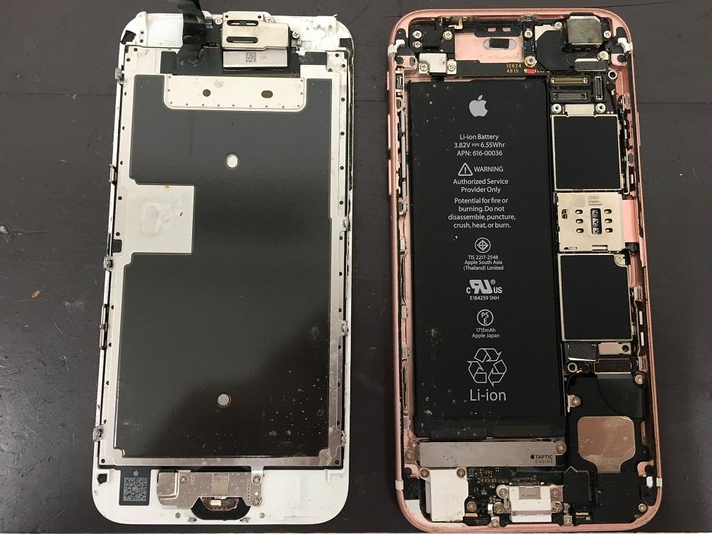 水没したアイフォン6sの内部
