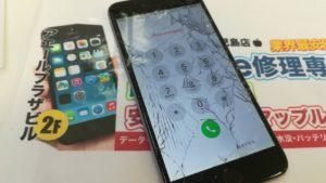 バキバキに割れたiPhone6plus画像