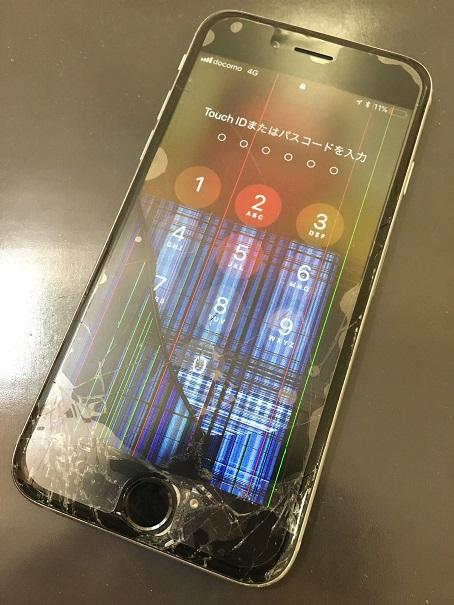 液晶が割れたiPhone6