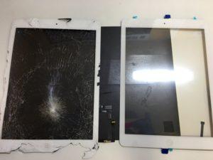iPad Airの割れたガラスと新品のガラス