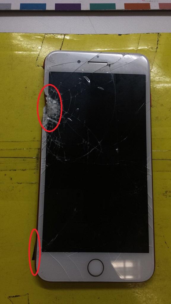 割れたiPhone7Plus画像
